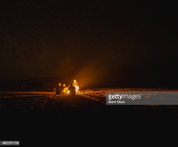 camping at lake powell - bonfire stock photos and pictures