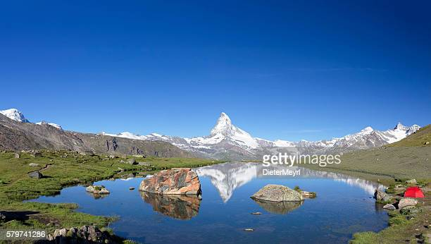 Camping at sunny day with view to Matterhorn