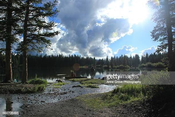 camping at the lake - san juan mountains stock photos and pictures