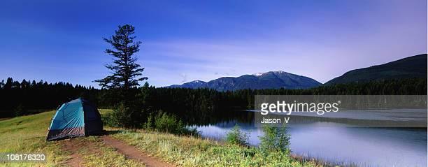 Camping Beside Rocky Mountain Lake