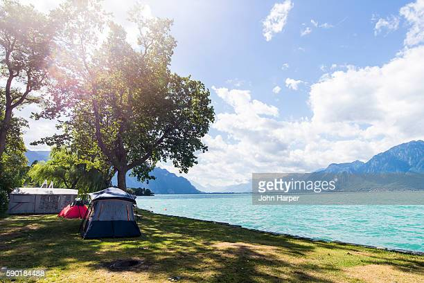 Camping by Lake Geneva, Switzerland