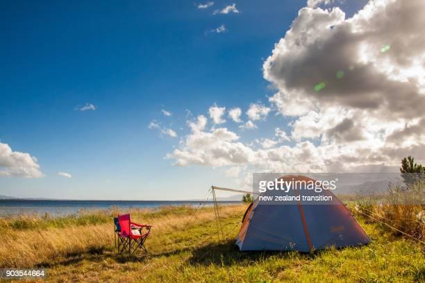 camping by lake Wairarapa in summer, Wairarapa, NZ