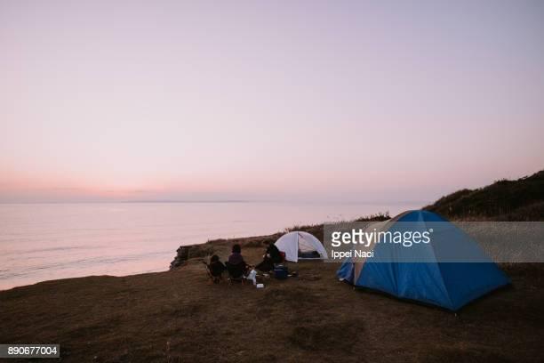Camping by Tokyo Bay at sunset