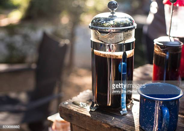 camping coffee in french press
