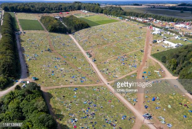 Camping equipment and rubbish left behind at Boomtown Fair despite an increased environmental message on August 13 2019 in Winchester United Kingdom