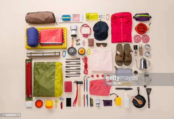 camping equipment knolling style - flat lay stock pictures, royalty-free photos & images