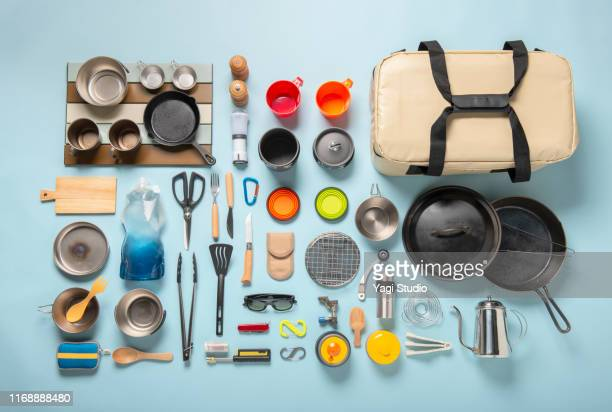 camping equipment knolling style - personal accessory stock pictures, royalty-free photos & images