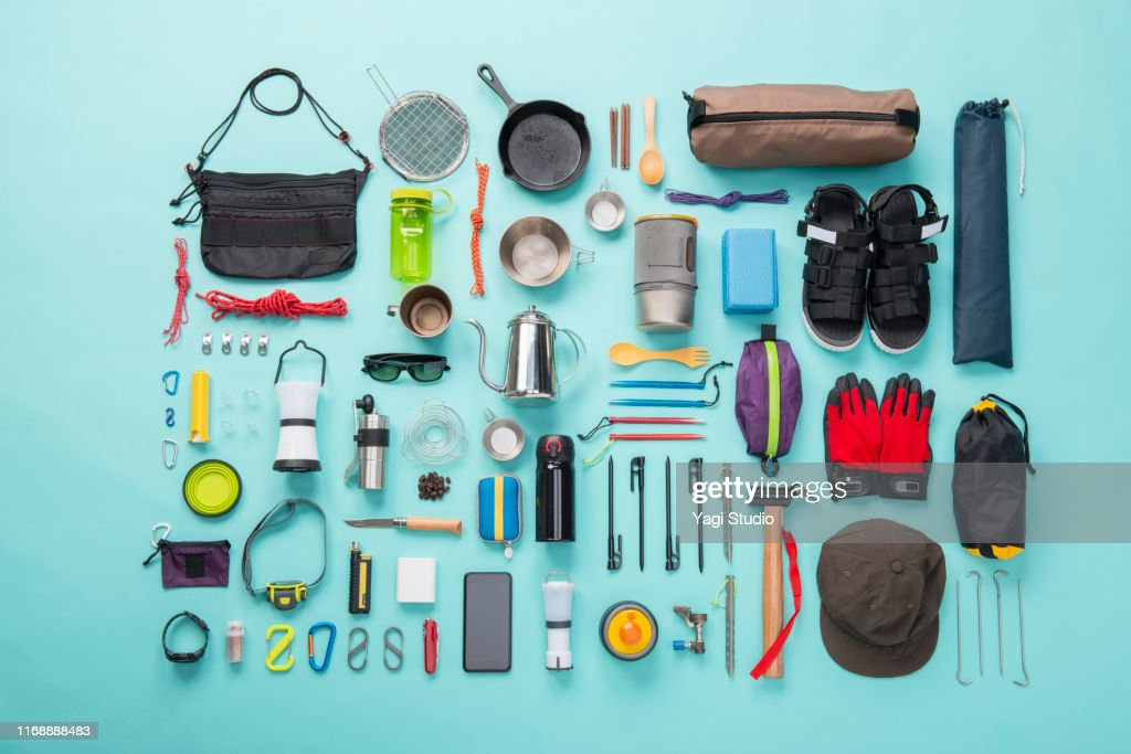 Camping equipment knolling style : Stock Photo