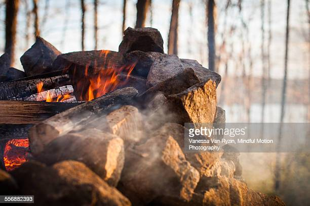 camping fire pit - vanessa van ryzin stock photos and pictures