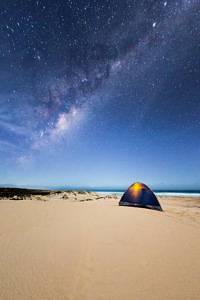Camping in a tent under the Milky Way