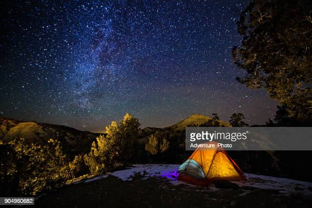 Camping in a Tent Under the Stars and Milky Way Galaxy