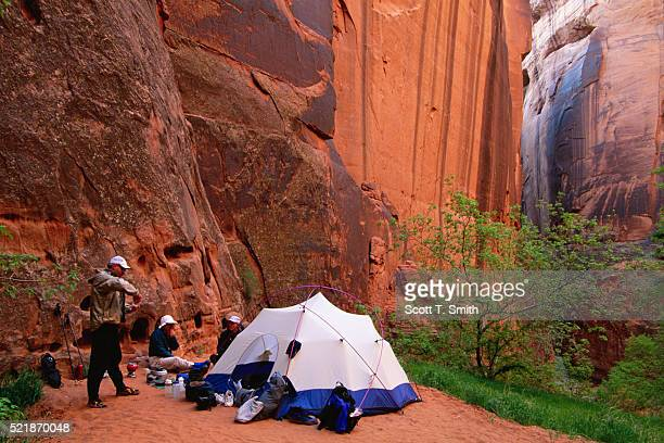 camping in buckskin gulch - paria canyon stock pictures, royalty-free photos & images