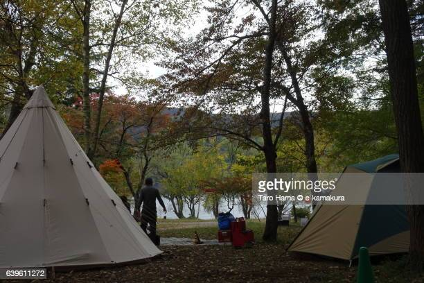 camping in saiko lake near mt. fuji - yamanashi prefecture stock pictures, royalty-free photos & images