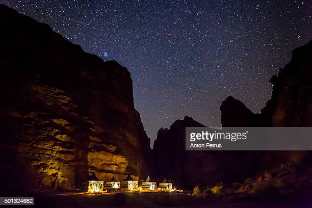 Camping in the desert of Wadi Rum at night