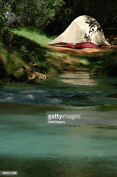 camping in the havasu canyon - supai stock photos and pictures