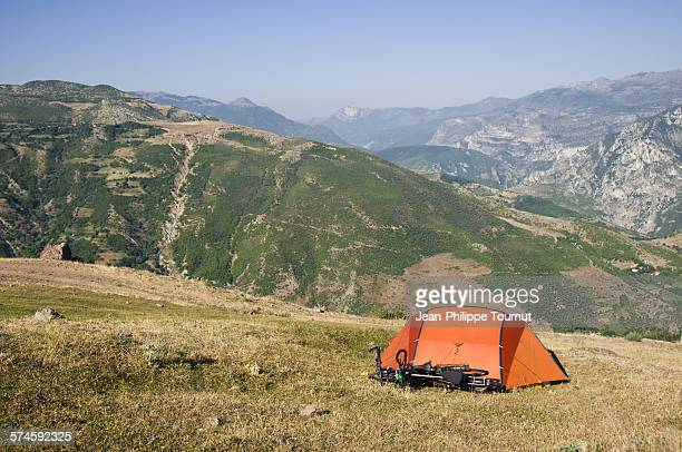 Camping in the mountains in Albania