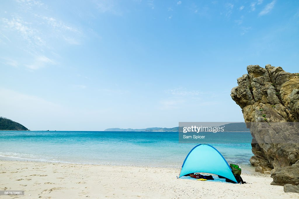 Camping on tropical beach paradise : Stock Photo