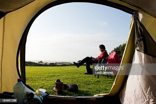 camping - only mature men stock pictures, royalty-free photos & images