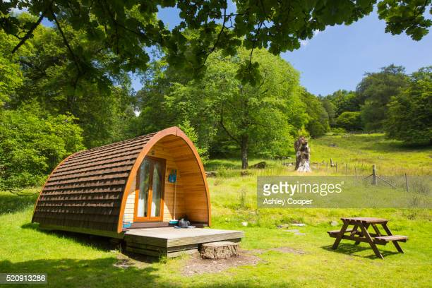 Camping pods in the grounds of Rydal Hall, Lake District, UK.