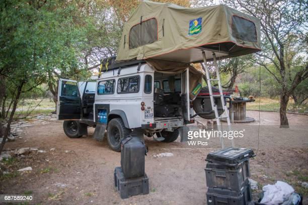 Camping setup on Land Rover Ghanzi Botswana