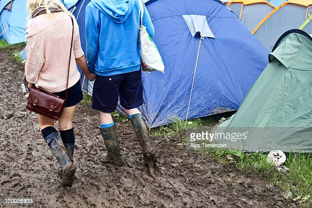 camping site at glastonbury festival 2011 - glastonbury stock pictures, royalty-free photos & images