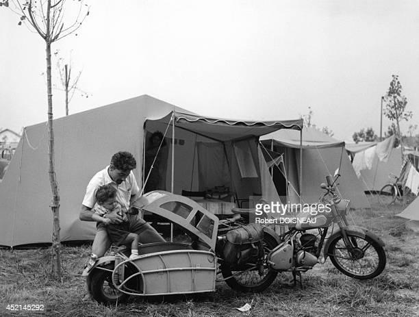 Camping site of Le Pouliguen on August 1959 in Le Pouliguen France