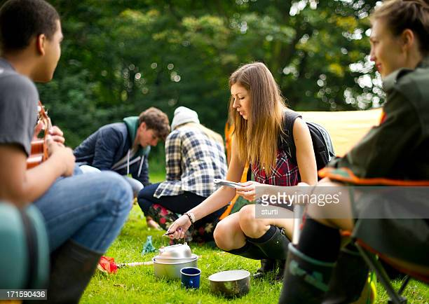 camping teens - sturti stock pictures, royalty-free photos & images