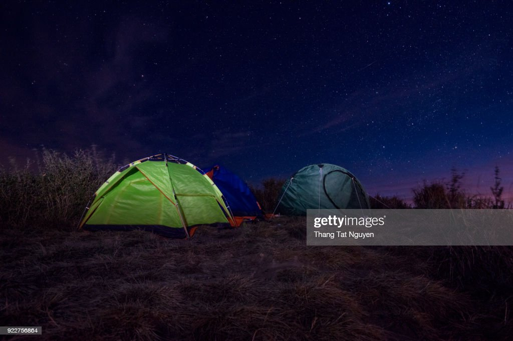 Camping Tent At Night Stock Photo