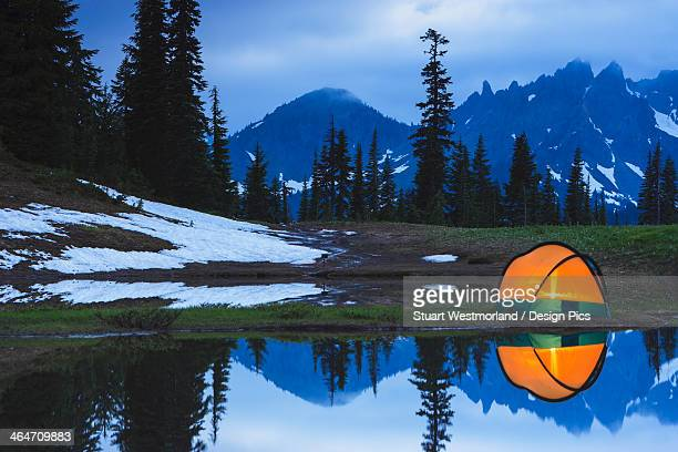 Camping Tent At Sunset By A Small Reflecting Pond Near Tipsoo Lake Mount Rainer National Park Near Seattle