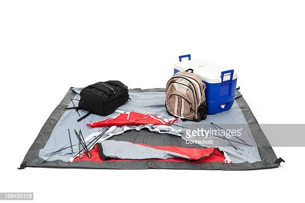 Camping Zelt, Rucksäcke und Kühlbox