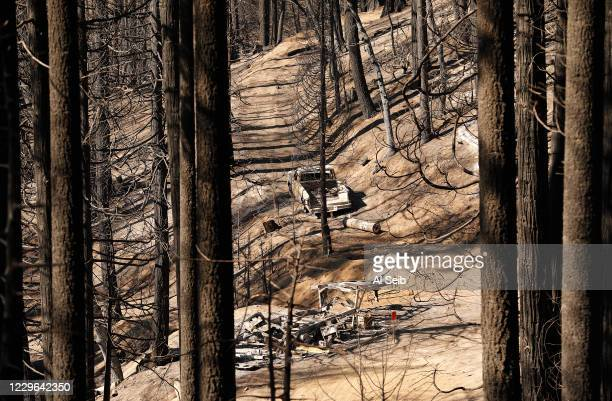 Camping trailer and truck charred by fire pushed by 60 mph winds blasting down drainages in the fire-ravaged mountainside of the McIntyre Grove, one...