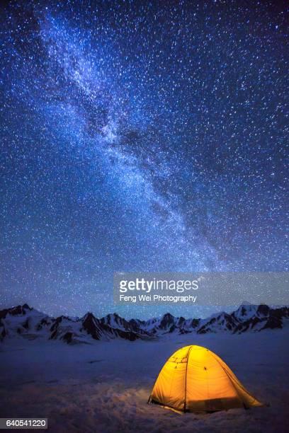 Camping Under Milky Way At Snow Lake (Lukpe Lawo), Biafo Hispar Snow Lake Trek, Central Karakoram National Park, Gilgit-Baltistan, Pakistan