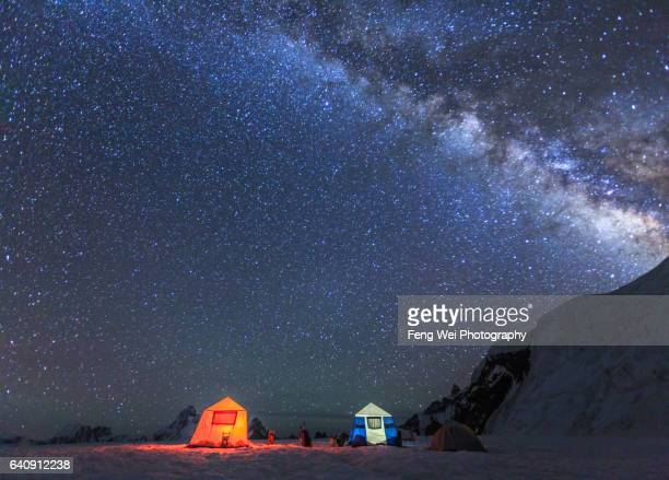Camping Under Milky Way On Hispar La, Biafo Hispar Snow Lake Trek, Central Karakoram National Park, Gilgit-Baltistan, Pakistan