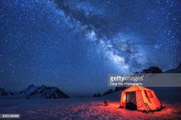 Camping Under Milky Way, Snow Lake (Lukpe Lawo), Biafo Hispar Snow Lake Trek, Central Karakoram National Park, Gilgit-Baltistan, Pakistan