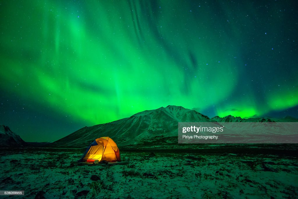 Camping under Northern Lights : Stock Photo