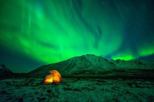 Camping under Northern Lights - gettyimageskorea
