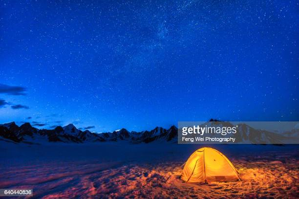 Camping Under Starry Sky @ Snow Lake (Lukpe Lawo), Biafo Hispar Snow Lake Trek, Central Karakoram National Park, Gilgit-Baltistan, Pakistan