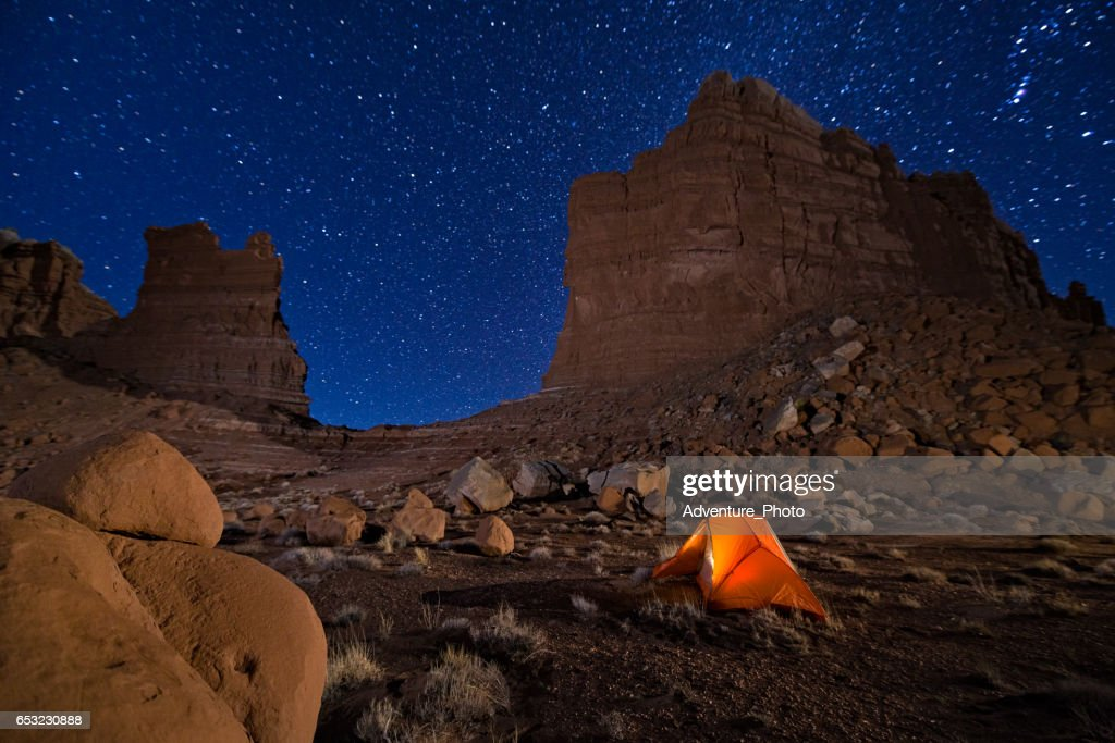 Camping Under the Stars in Canyon Country Utah : Foto stock
