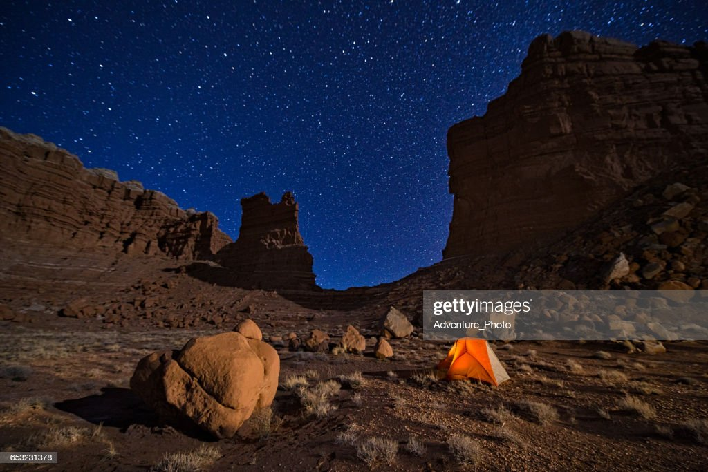 Camping unter den Sternen in Canyon Country Utah : Stock-Foto