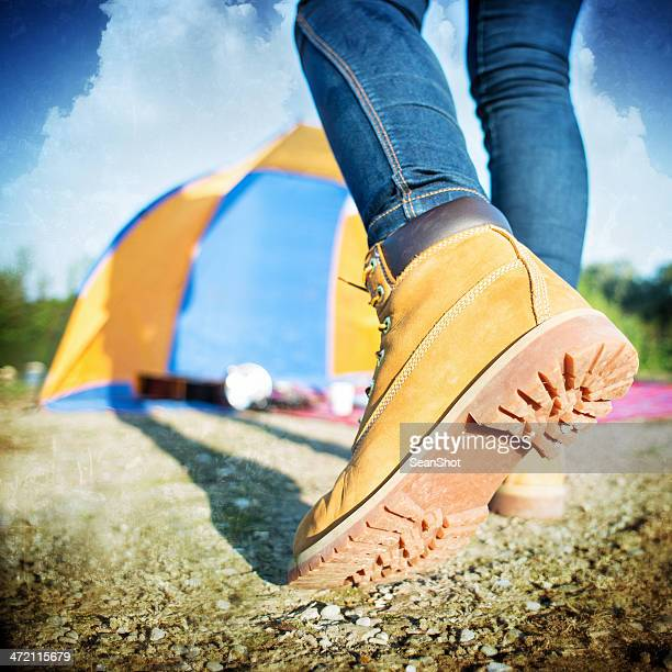Camping: Walking Shoes Closeup