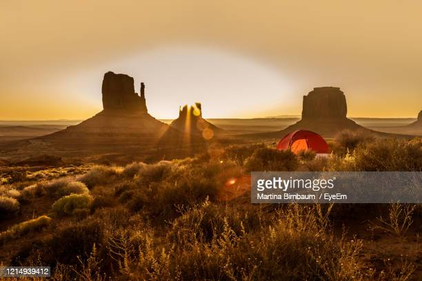 camping with a tent in the monument valley - sandy utah stock pictures, royalty-free photos & images
