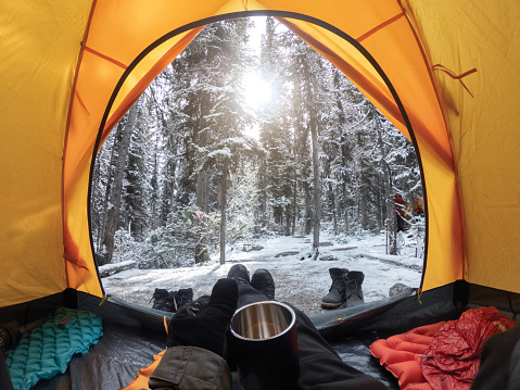 Camping with hand holding cup in yellow tent with snow in pine forest 1183075367