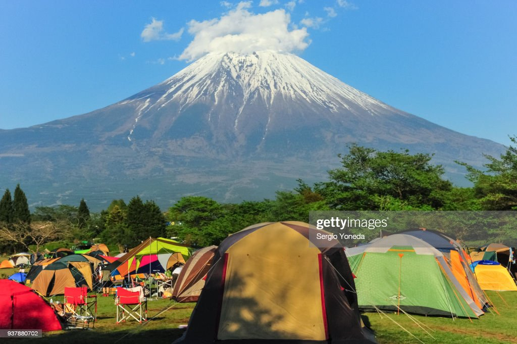 Camping with Mount Fuji View : Stock Photo