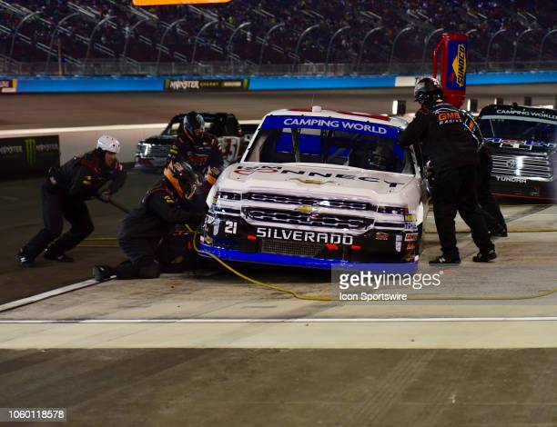 Camping World Truck Series Cup finalist Johnny Sauter ISM Connect Chevrolet pits for tires and fuel at the NASCAR Camping World Truck Series Playoff...