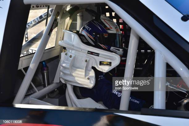 Camping World Truck Series Cup finalist Johnny Sauter ISM Connect Chevrolet sitting in his truck awaiting start of practice session at the NASCAR...