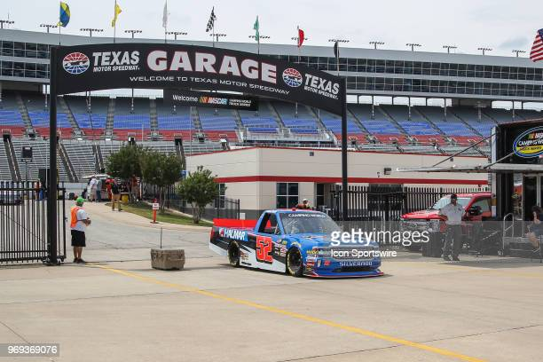 Camping World Truck Series driver Stewart Friesen enters the garage during practice for the PPG 400 on June 7 2018 at Texas Motor Speedway in Fort...