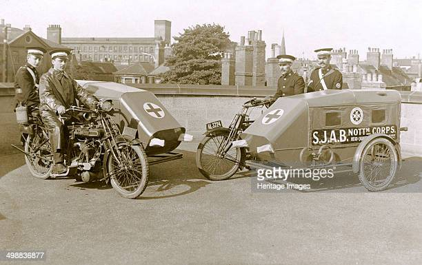 Campion Brothers motorcycle ambulances Nottingham Nottinghamshire c1916 Possibly posed in the grounds of Nottingham Castle Ambulances from the St...