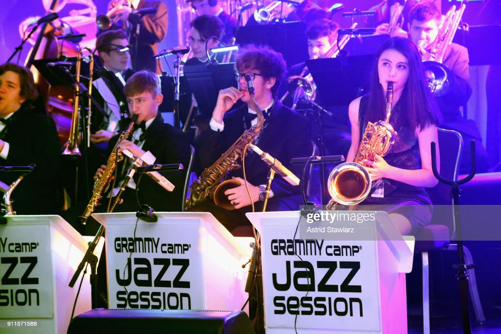 Camp®-Jazz Session students perform at the 60th Annual GRAMMY Awards Celebration at Marriott Marquis Hotel on January 28, 2018 in New York City.