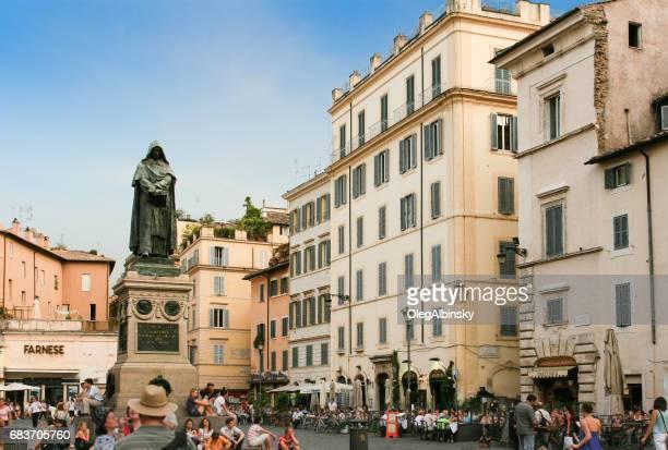 Campo de' Fiori full of Tourists and Statue of Giordano Bruno, Rome, Italy.