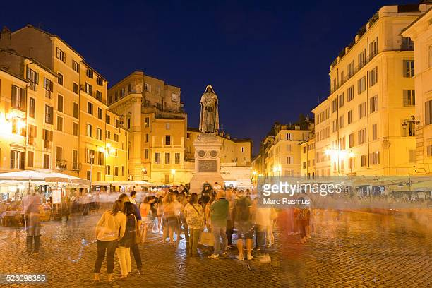 Campo de Fiori with the statue of Giordano Bruno, at night, Rome, Lazio, Italy
